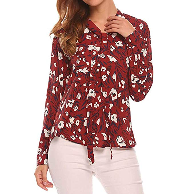 Luckycat Las Mujeres del otoño O Cuello de Manga Larga con Estampado Floral Top Casual Blusa Tops Camiseta: Amazon.es: Ropa y accesorios