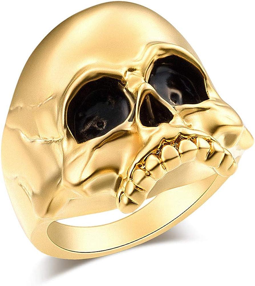 EVBEA Men Skull Jewellery Cool Biker Ring Big Mens