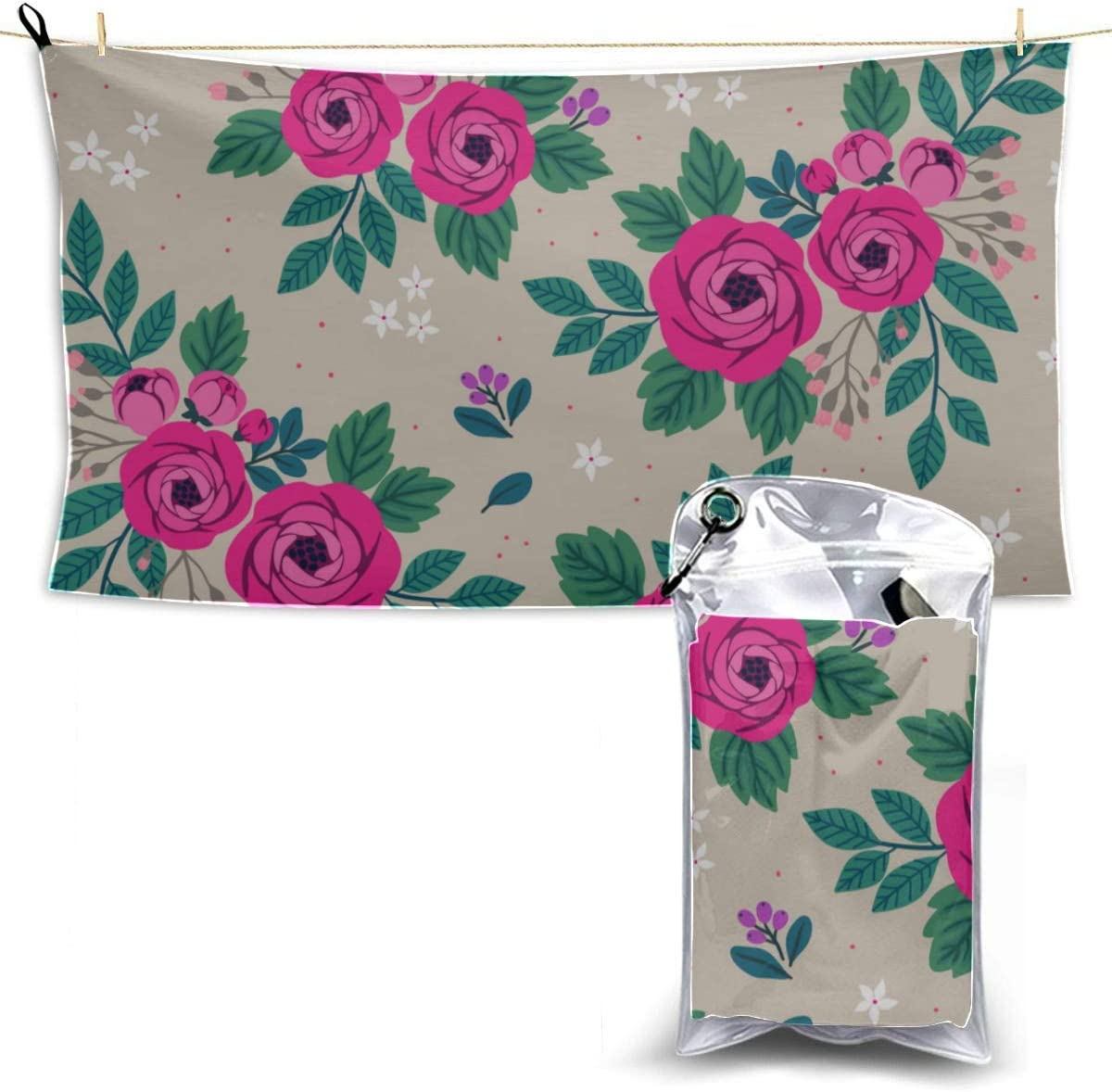 B07Y845X3Y VNASKL Quick Dry Lightweight Towels Quick Dry Microfiber Compact Absorbent Sporting Towel with Carrying Bag Rose Red Retro Romatic Spring Peony Mens Beach Towell 61Wcnjg3s5L