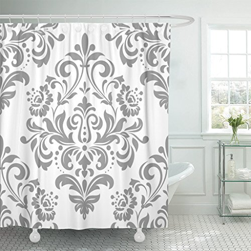 Emvency Shower Curtain Pattern in The of Baroque Damask Gray and White Waterproof Polyester Fabric 72 x 78 Inches Set with -