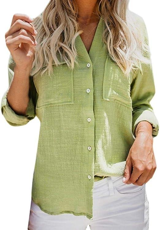 Tian Mei C Ropa de Mujer Mujer Algodón Lino Camisa de Manga Larga sólida Ocasional Blusa con Botones (Color : Verde, tamaño : Medium): Amazon.es: Jardín