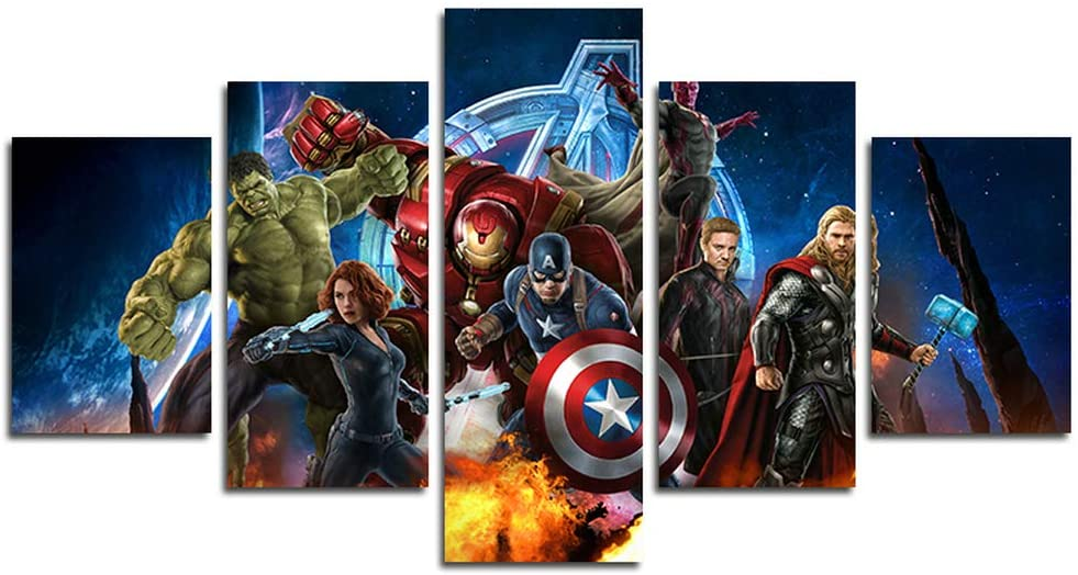 Orsit Prints 5 Pieces Miracle Avenger Ultron Super Hero Canvas Painting Living Room Home Decoration Canvas Art Wall Poster (No Frame) 50 inch x30 inch……