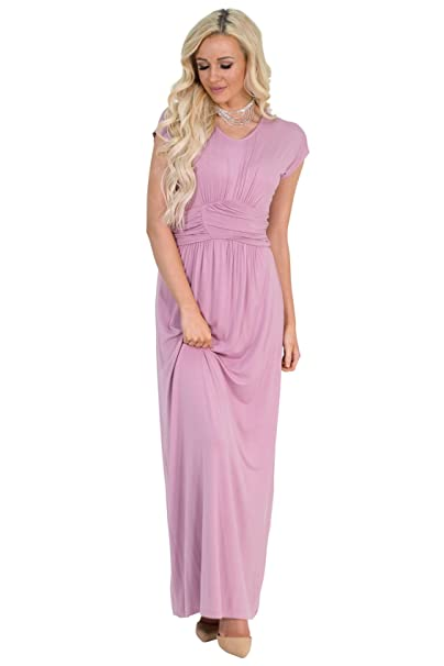 cf5c0f4bb8511 Jen Athena Modest Maxi Dress in Mauve or Dusty Rose Pink - XS, Modest  Bridesmaid