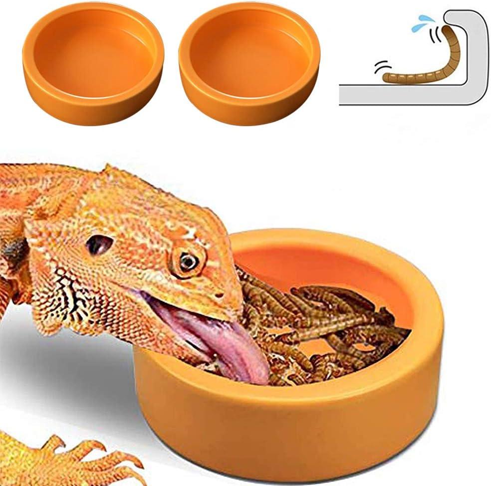 Kizxtrsh 2 Pack Reptile Water Food Bowl, Mini Reptile Feeder Mealworms Bowl, Lizard Bearded Dragon Gecko Chameleon Hermit Crab Reptirock Retile Cricket Dish
