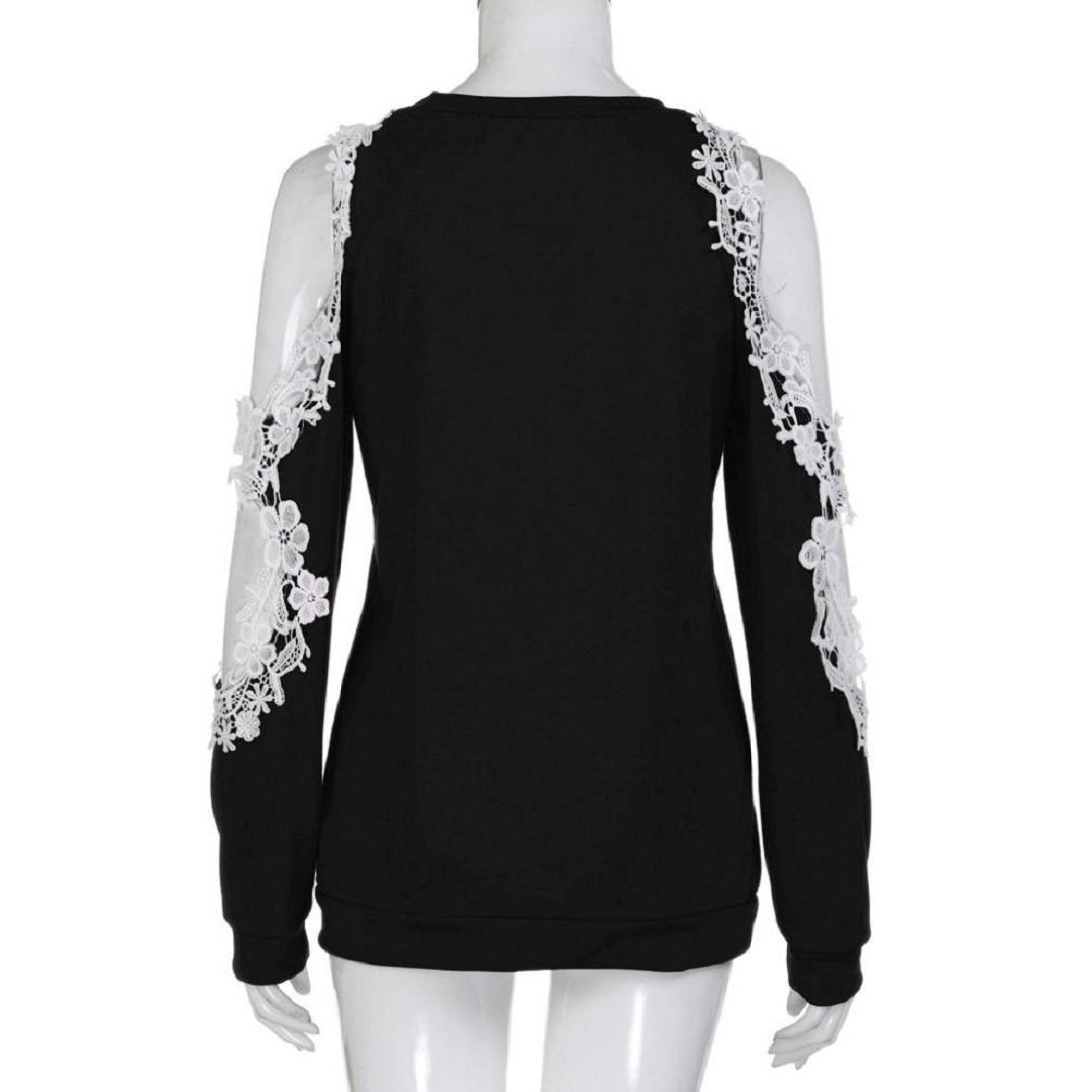 d70b8b086f3b36 Women s Off Shoulder Tops Ladies Long Sleeve Casual Lace Blouse Solid Color  T-Shirt Tops Shirt at Amazon Women s Clothing store