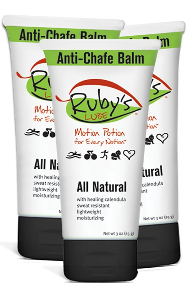 Ruby's Lube All Natural Anti-Chafe, Anti-Blister Balm | Made in USA | Water and Sweat Resistant | Formulated and Tested by an 8 Time Ironman Winner - 3 oz (Pack of 3)