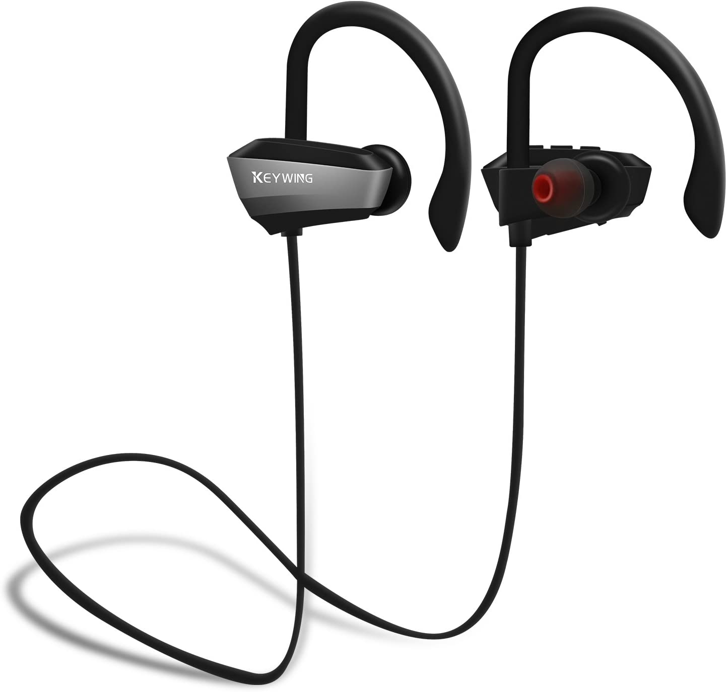 Sports Wireless Headphones KEYWING Bluetooth Headphones Sports Earphones with Microphone IPX7 Waterproof HD Stereo Bluetooth Earbuds for Gym Running Workout 8 Hours Battery Noise Cancelling Headsets