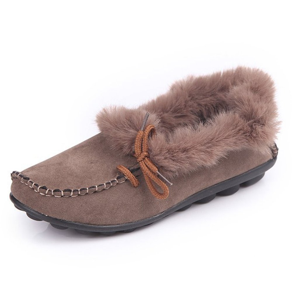 YING LAN Womens Moccasins Slippers Fur Lined Slip On Suede Indoor Outdoor Winter Shoes with Non-Slip Khaki 38