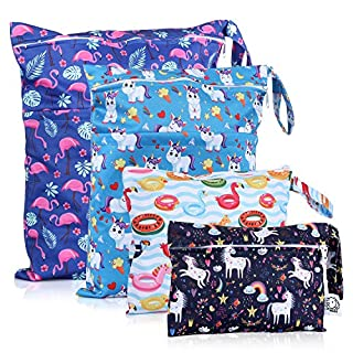 Washable and Reusable Wet Bag, Diaper Bag, Water Resistant Swimming Bag, Travel Toiletries Pouch, Yoga Gym Bag,Unicorn and Flamingo, 4 Pcse