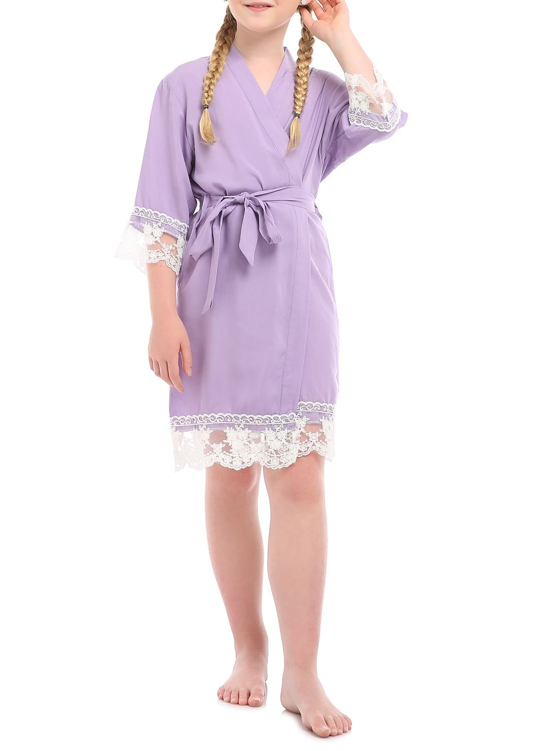 missfashion Girl's Junior Bridesmaid Rayon Cotton Lace Robe for Wedding Gift(12,Light Purple)