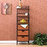 Wildon Home ® Walker Scrolled kitchen Storage Baker's Rack Home Furniture Display Organization Free Corner Standing Shelf with three-drawers and three lower brown stained removable rattan baskets,three open shelves on top,1 Year Limited Warranty