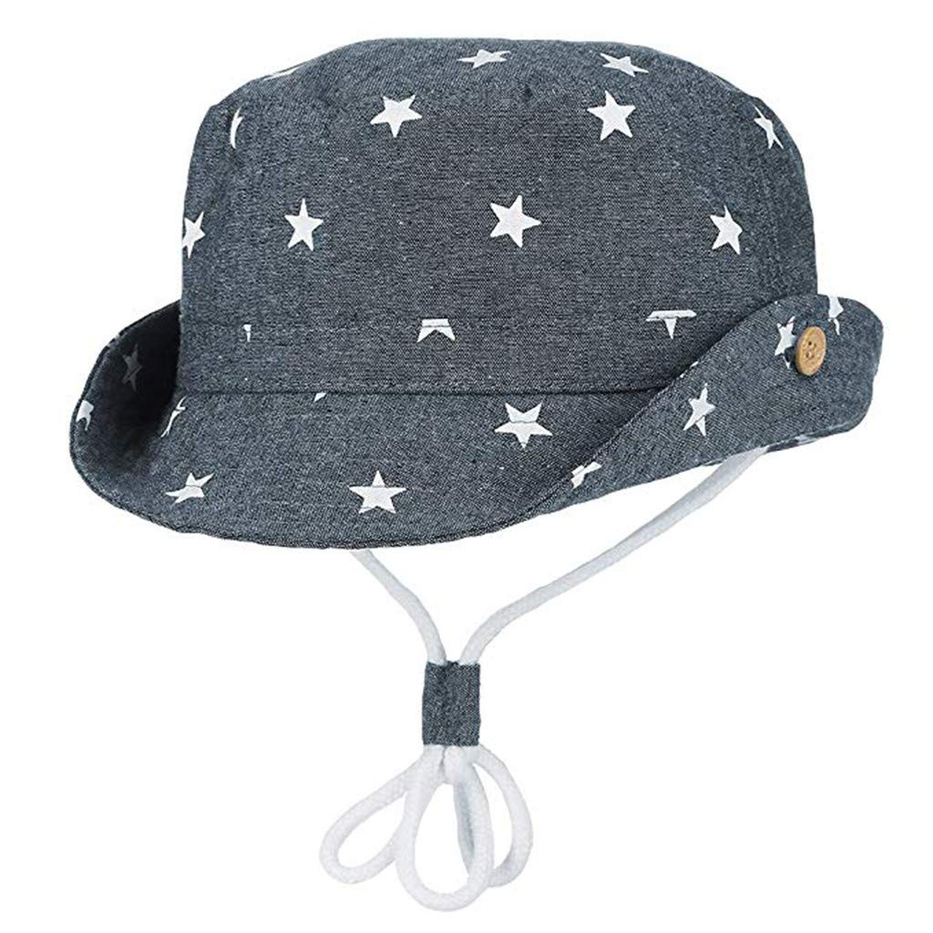 Tantisy ♣↭♣ Sun Hats for Infants ☘ Baby Girl Boy Star Print Fisherman's Hat Adjustable Breathable Bucket Cap Sunscreen Cap Dark Blue