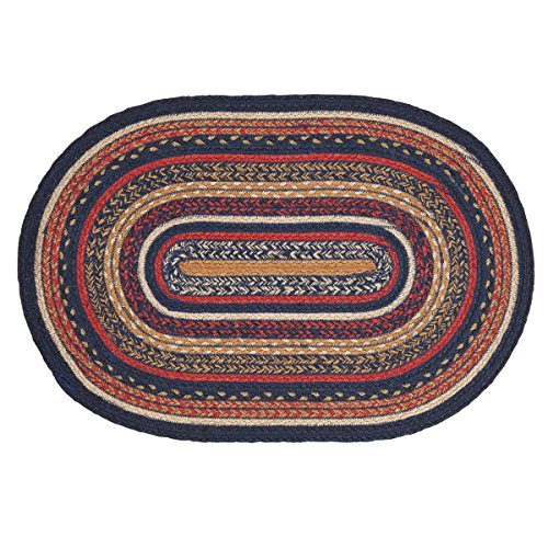 Oval Small Rugs (VHC Brands 27493 Primitive Flooring-Stratton Blue Oval Jute Rug, 20x30, Navy)