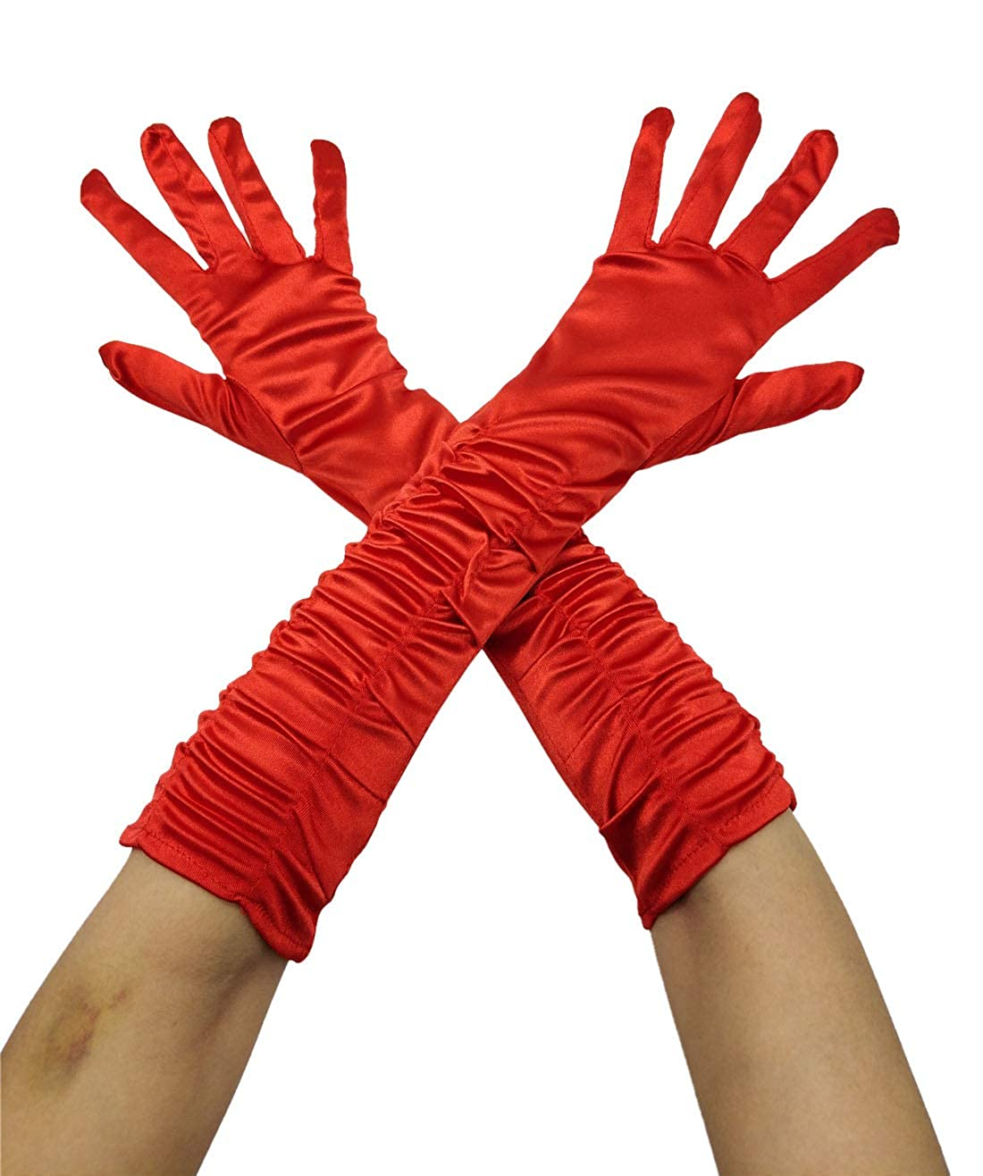 Women's Satin Elastic Ruched Elbow Length Costume Gloves (Available in 6 Colors) - DeluxeAdultCostumes.com