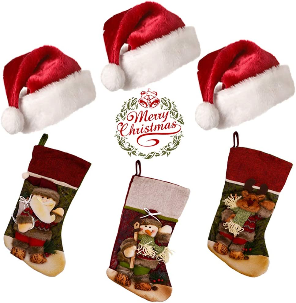"Christmas Stockings, 3 Pack 17"" Big Xmas Stockings, Burlap Plaid Style with Snowflake Santa Snowman Reindeer, 3 Pack 17.7"" Unisex Christmas Hats with Plush Trim for Family Xmas Party Decor (6 PCS)"