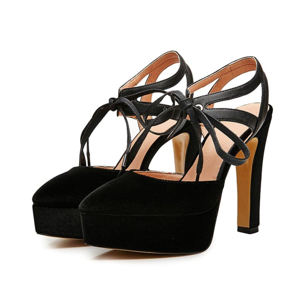Zapatos De Tiras Puntiagudas De Las Mujeres Comercio Simple Bombas De Moda Sandalias De Los Talones 40 EU Negro