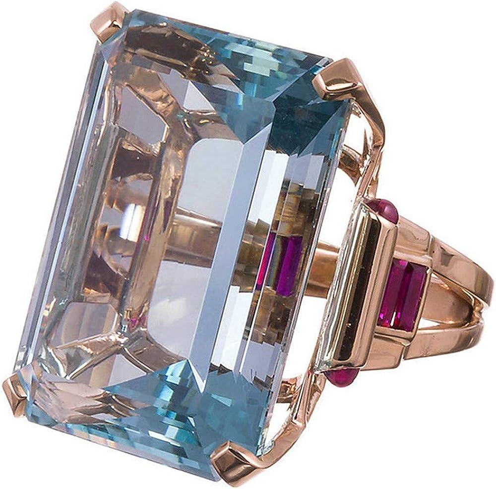 Natural Aquamarine Ring Wedding Ring Emerald Cut Blue 14K Rose Gold for Lovers