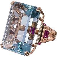 Haluoo Vintage Aquamarine Ring Sterling Silver Gemstone Turquoise Engagement Wedding Bands Emerald Cut Blue Rose Gold…