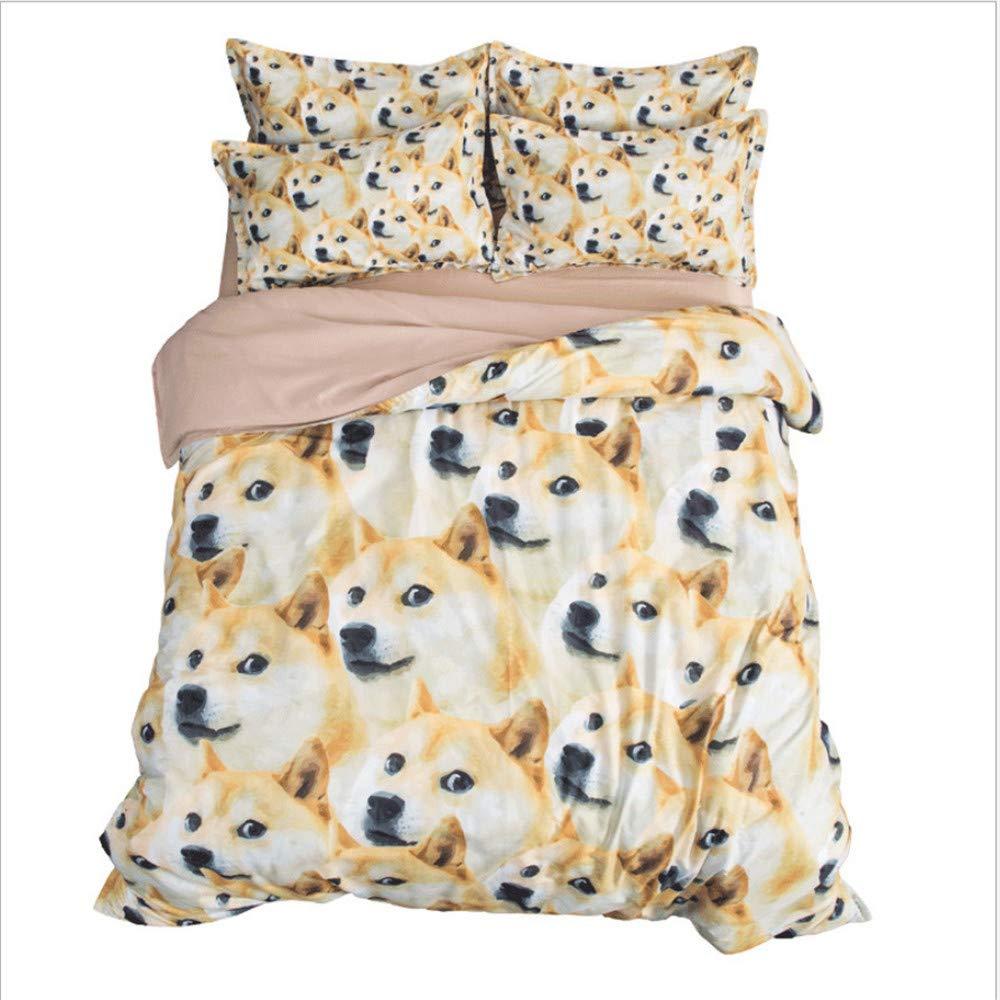 Hhlwl Cartoon Shiba Inu Vierteilige Niedlichen Hund Bettwäsche Blätter Gesteppt Kissenbezug Bett, 1,2 M Bett