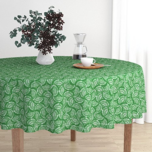 Roostery Round Tablecloth - Green Fan Feather Tile Ethnic Emerald Watercolor by Katebillingsley - Cotton Sateen Tablecloth 70in