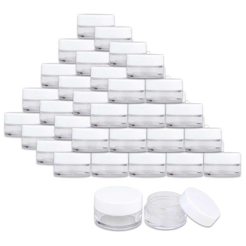 600 Jars - Beauticom High-Graded 5 Grams/5 mL BPA Free Thick Clear Acrylic 100% NO LEAK Plastic Jars empty Container White Lid for Cosmetic, Lip Balm, Beads, Creams, Lotion, Liquids, Sample, Travel