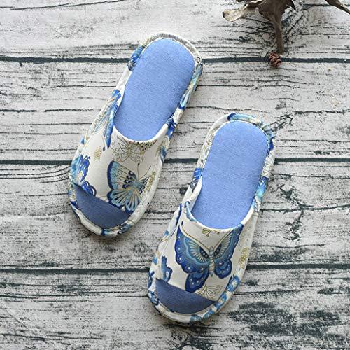 Intérieur AMINSHAP Clair Pantoufles Coton Maison Silencieux Motif Bleu 39 Bas Chaussons Tow Pantoufles Taille Home 40EU Bleu Femelle Papillon Clair Fond Doux Couleur 8pxTdSw