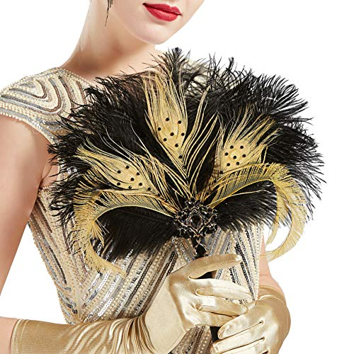 BABEYOND Vintage Bridal Feather Bouquet 1920s Ostrich Feather Fan Crystal Bridesmaid Bouquet 20s Gatsby Wedding Bouquet Flapper Accessories (Black)