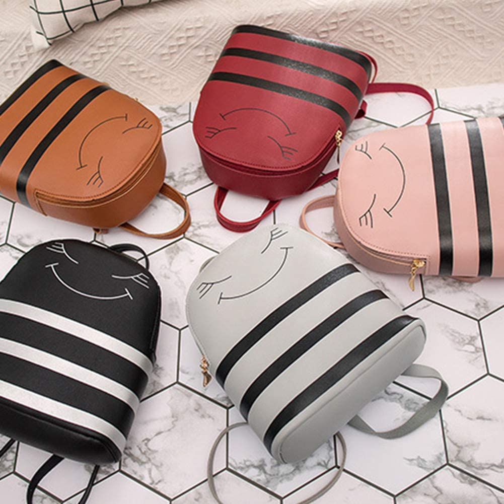 wintefei Lovely Smiling Face Stripes Faux Leather Girls School Travel Bag Leisure Backpack