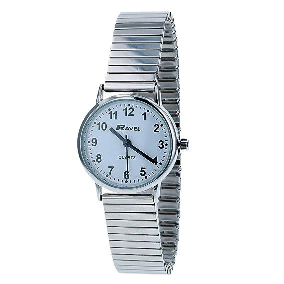 Reloj para mujer, de la marca Ravel, con esfera blanca y correa extensible (