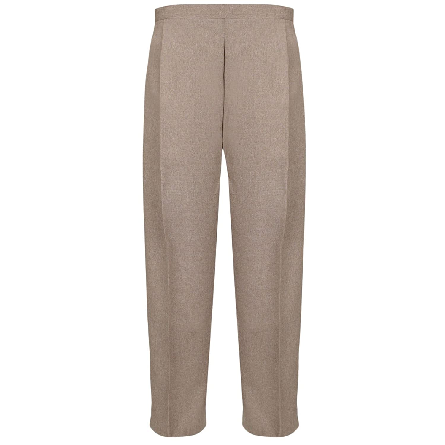 Ladies Womens Half Elasticated Pants Stretch Waist Casual Office Work Formal Trousers