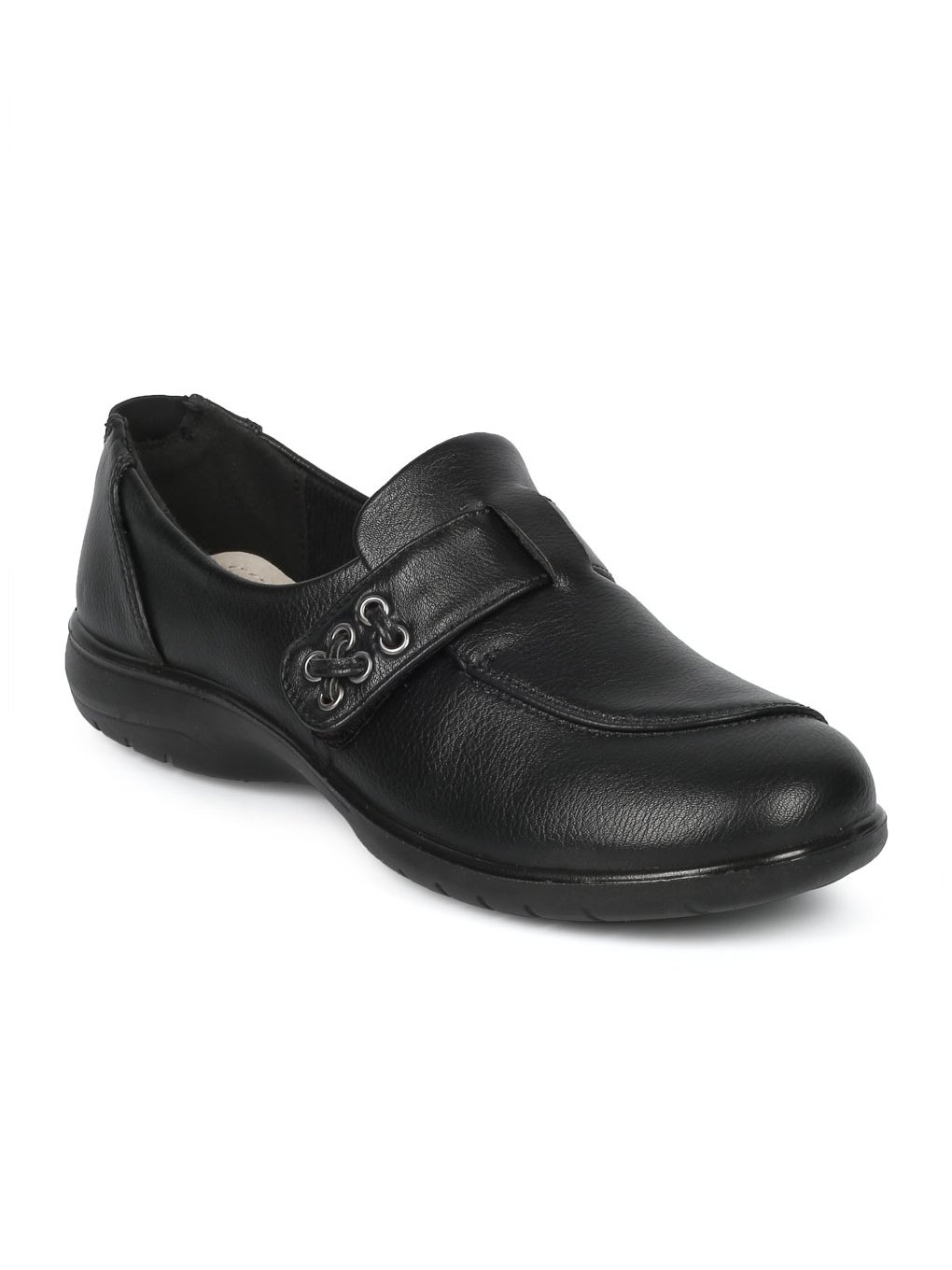 Alrisco Women Leatherette Belted Elevated Heel Working Loafer HD94 - Black Leatherette (Size: 8.5)
