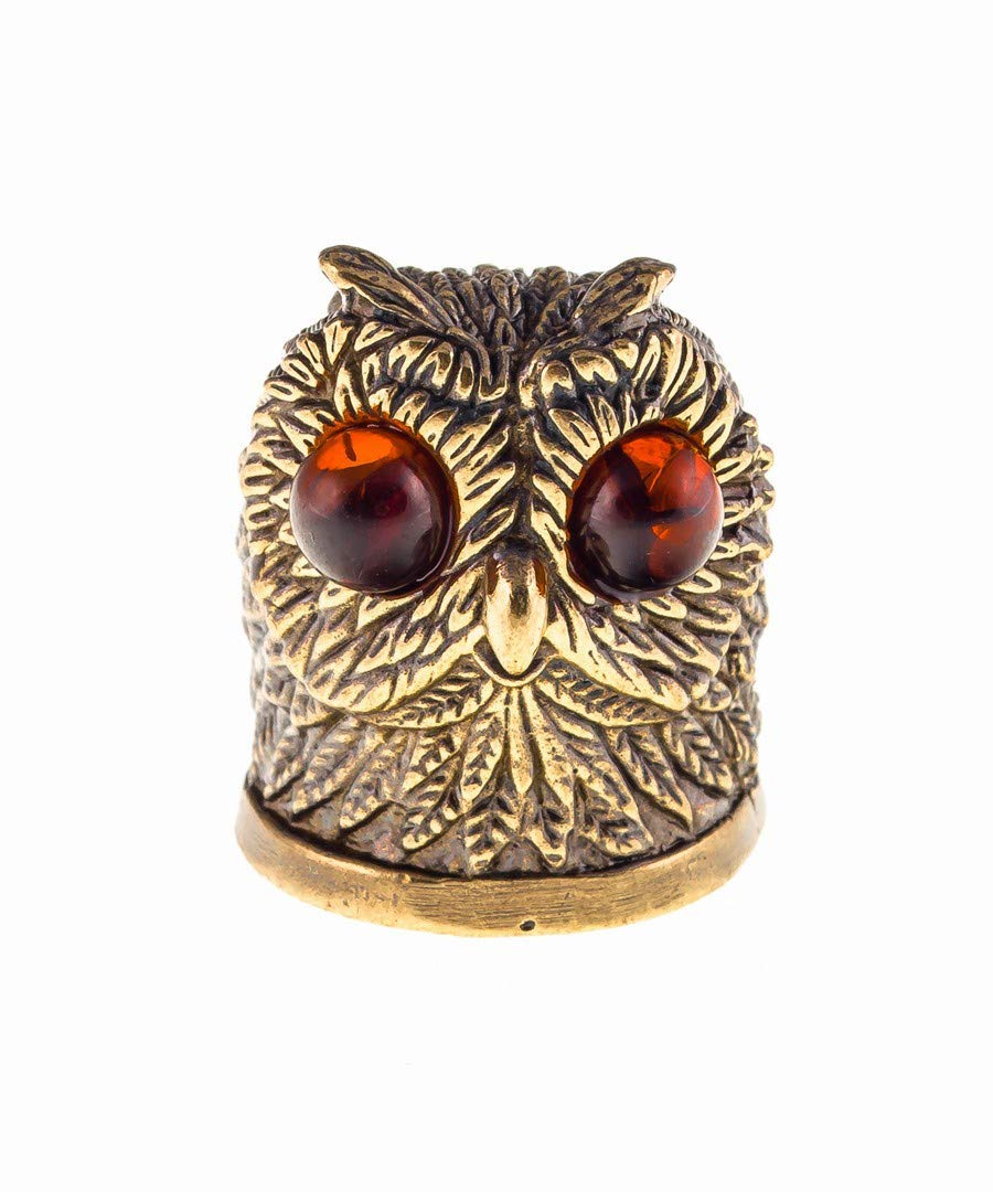 Amber and Brass Collectible Thimble (Owl) Decorative Souvenir Thimbles. Antique and Vintage Designs from Kaliningrad, Russia. Packed in a Beautiful Siberian Birch Bark Gift Box (Random Selection) by Brass and Amber Art