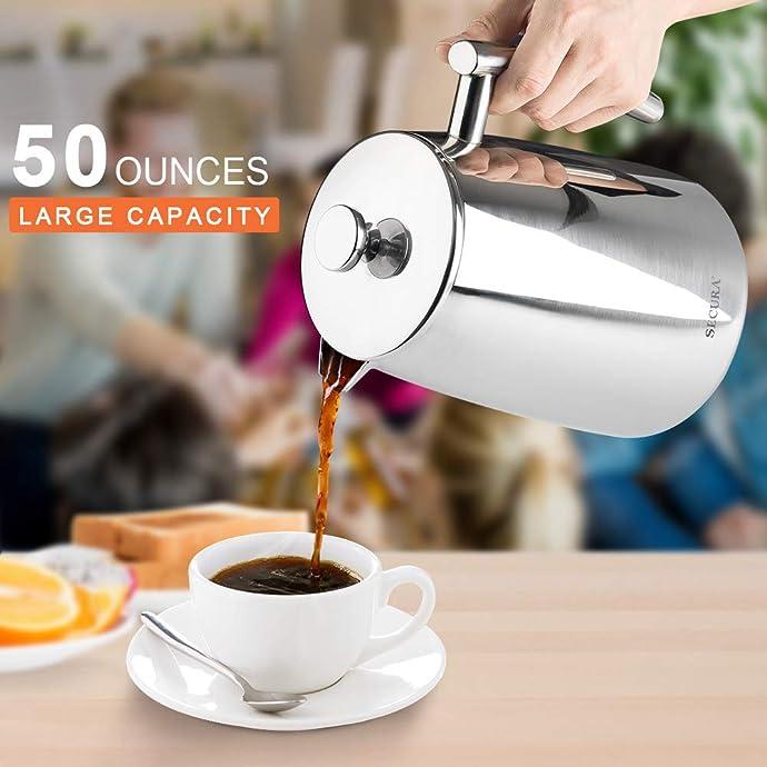 金盒特价 Secura 18/10 不锈钢法压壶 咖啡壶 1.5L 2.9折$25.89 海淘转运到手约¥300 可多买多省高至再5折