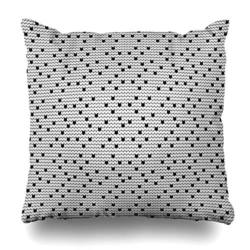 Ahawoso Throw Pillow Cover White Abstract Pattern Ugly Sweater Vintage Baltic Black Canvas Christmas Design Winter Home Decor Pillowcase Square Size 16 x 16 Inches Zippered Cushion Case