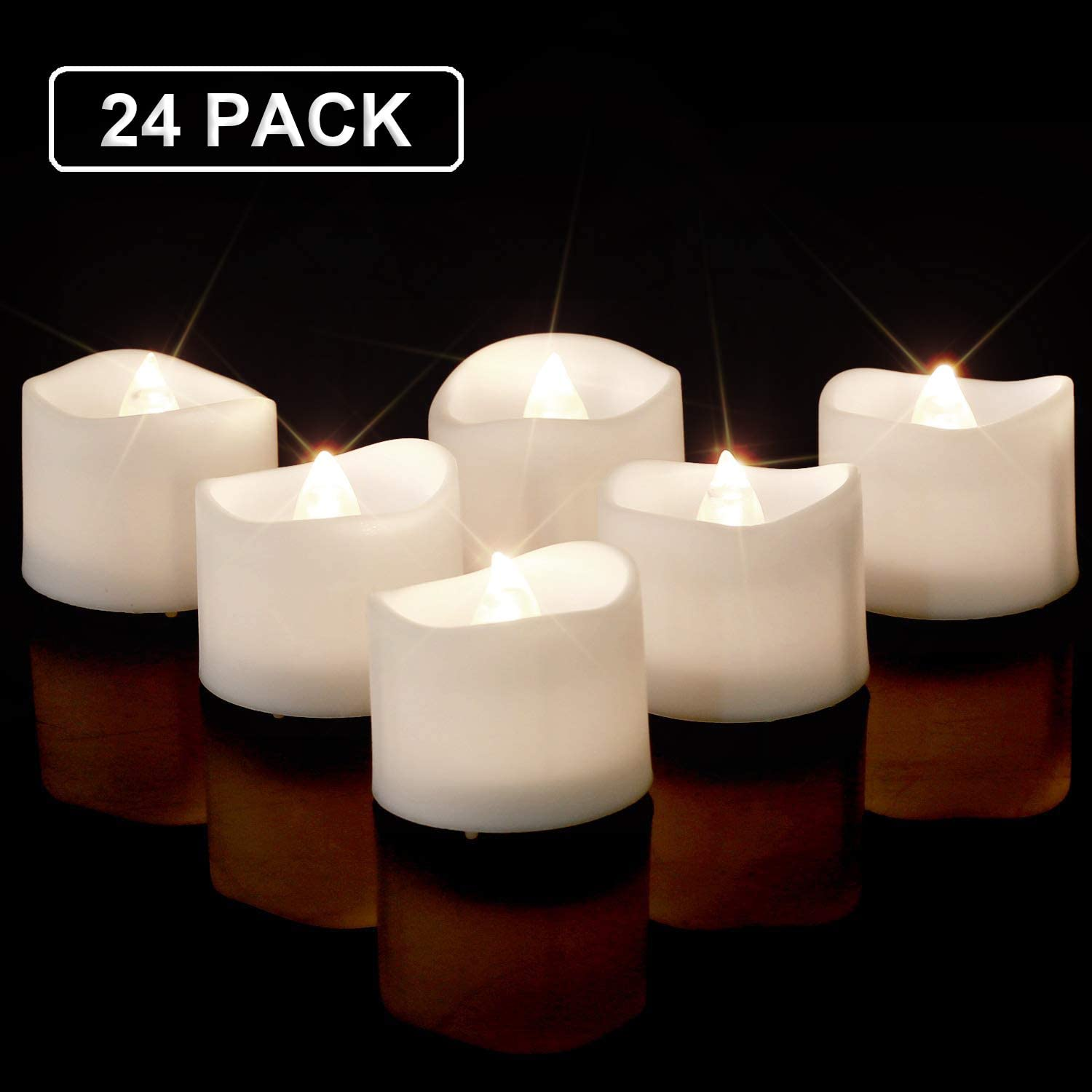 Homemory Bright White LED Tea Light Candles, Set of 24 Flickering LED Tea Lights, Battery Operated Tea Candles for Wedding Table Centerpieces, Mood Lighting and Home Decor