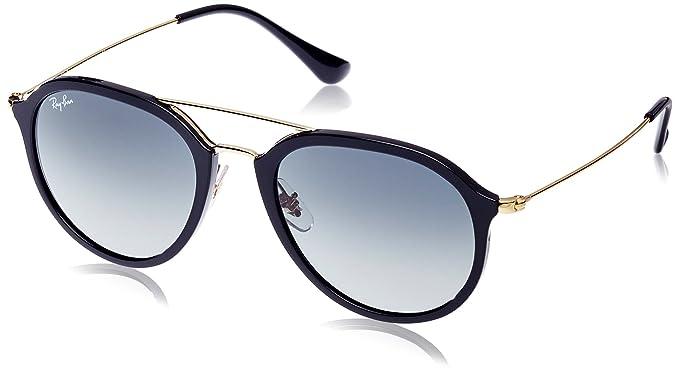 Ray Ban Mod. 4253 Sun, Gafas de Sol Unisex, Negro/Plata/Azul claro Degradada (Black), 50