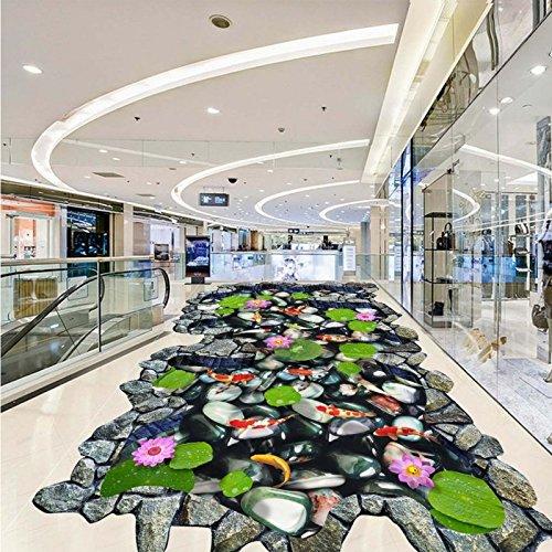 LHDLily Hawthorn Carp Lotus Stone 3D Outdoor Floor Painting Thickened Lobby Bedroom Living Room Bathroom Flooring Mural ()