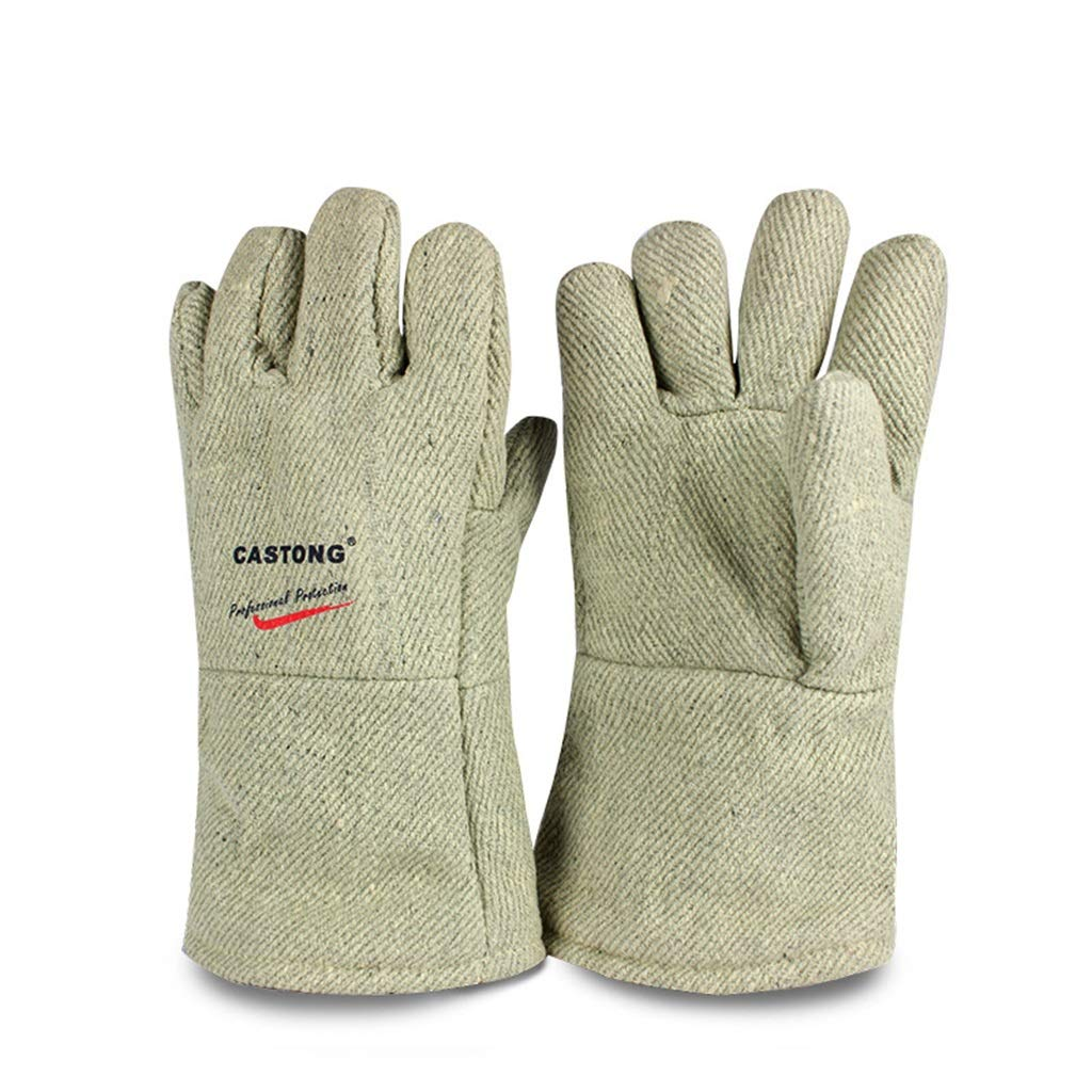 High Temperature Gloves Industrial Oven 650°C Block Heat 34CM Anti-Burn Lengthen Gloves (Color : Green, Size : 1 Pair)