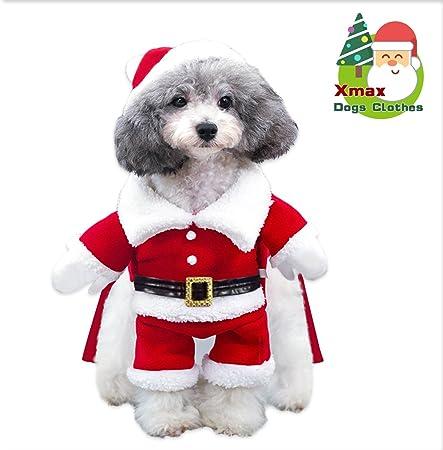 Traje de Santa Perro Abrigo de perro Invierno Chaqueta de perro Calentar Navidad Capucha Perro suéter Mezcla de algodón Regalo de Navidad Rojo