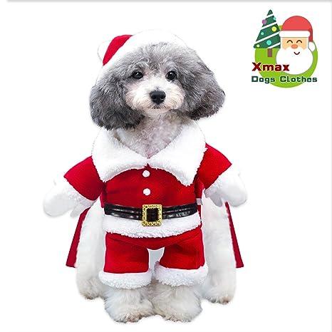 Immagini Cani Natale.Costume Da Babbo Natale Cane Cappotto Per Cani Giacca Invernale Per Cani Caldo Natale Con Cappuccio Maglione Per Cane In Misto Cotone Regalo