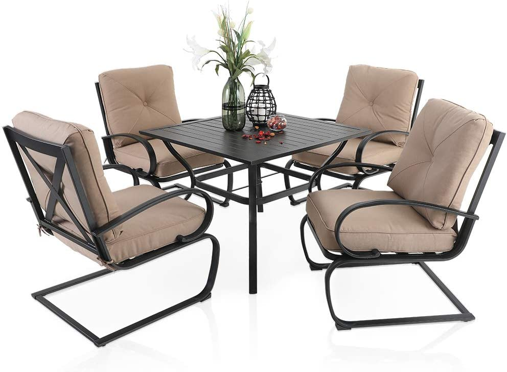 "PHI VILLA 5 Piece Patio Dining Set, 4 pcs C-Spring Motion Chairs with Padded Relaxing Cushion & 1 Sqaure 37""x 37"" Outdoor Metal Dining Table with 1.57"" Umbrella Hole, Beige Cushion"