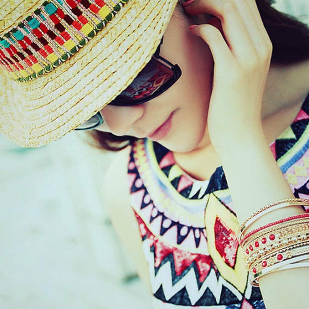 Gjyia Mujer Verano Playa Trigo Paja Sombrero para el Sol Bohemio /Étnico Arco Iris Color Bordado