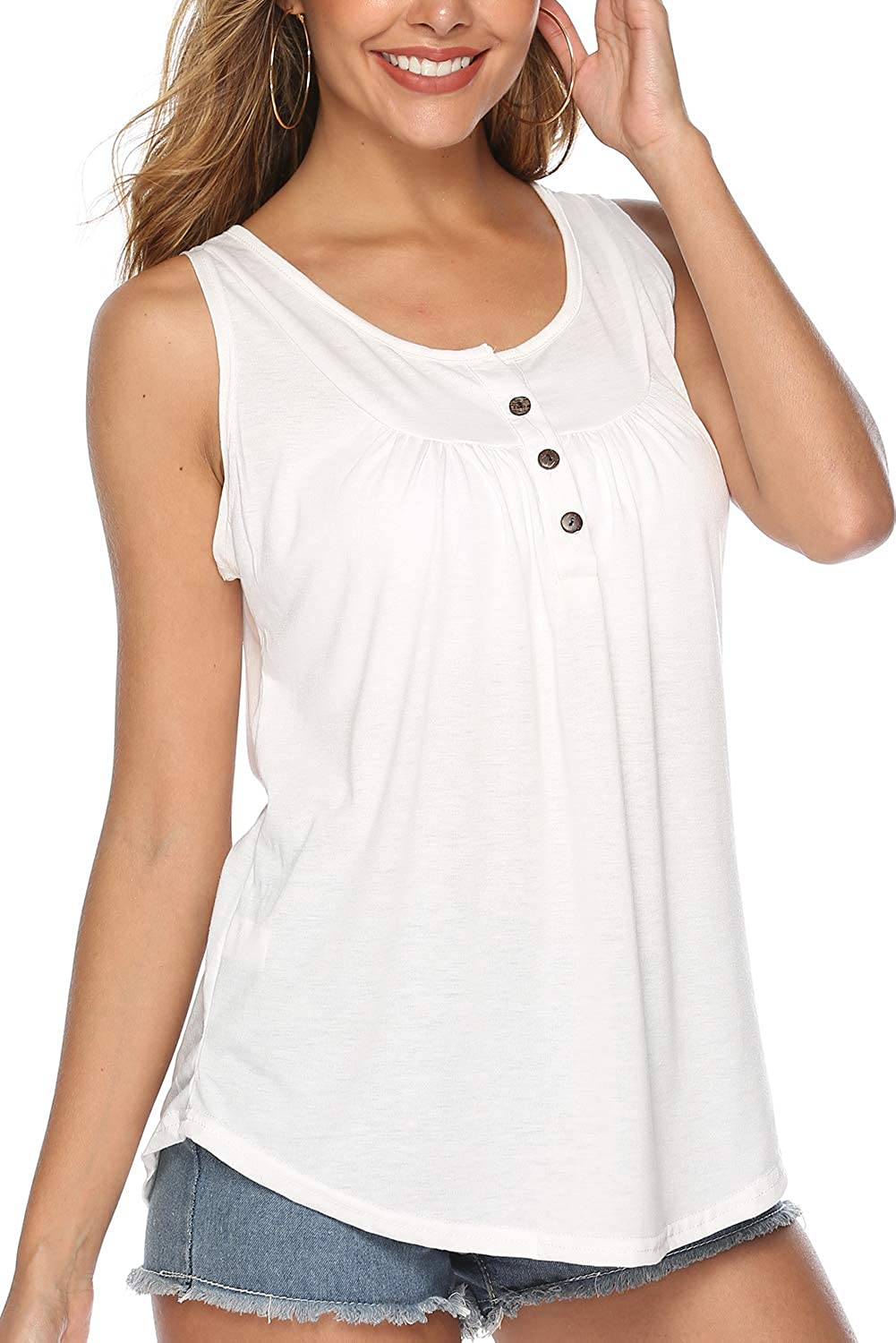 FZ FANTASTIC ZONE Womens Summer Sleeveless Button Up Casual Loose Tank Tops Tunic Shirts Blouses