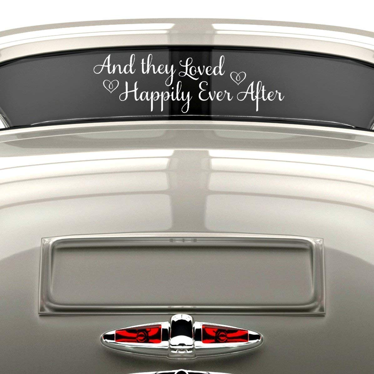 Amazon com vinylwritten happily ever after sticker just married car decal wedding window decal white vinyl 30 x 9 handmade