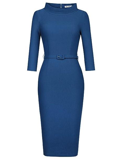 Women's 1950s Vintage 3/4 Sleeve Elegant Collar Cocktail Evening Dress