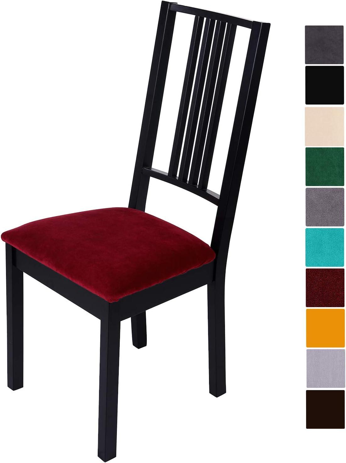 Homaxy Housses de chaise en velours doux Housse stretch pour chaise de salle /à manger Housse de protection pour chaise Dentelle 2 unit/és lavables beige