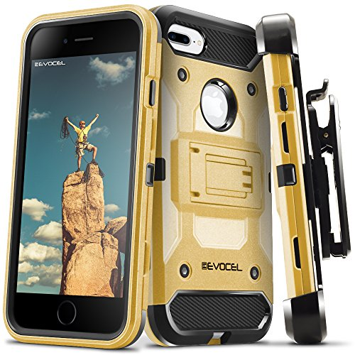 iPhone 7 Plus / iPhone 6s Plus Case, Evocel [Trio Pro Series] Premium Hybrid Tri-Layer Protector Case [Kickstand][Belt Swivel Clip] For iPhone 7 Plus / iPhone 6 Plus & 6s Plus (5.5 inch), Gold Medal