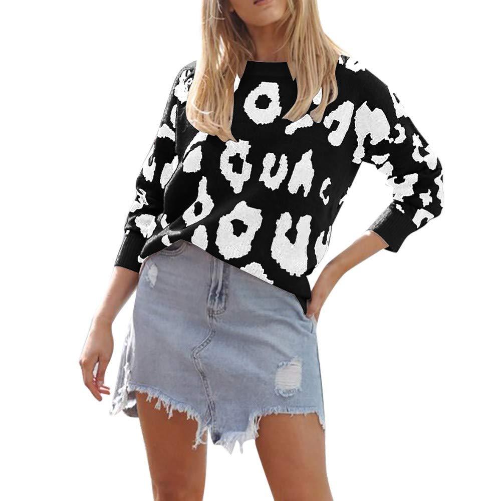 ❤️ Suéter Leopardo de Las Mujeres, Las Mujeres de Gran tamaño de Moda de Punto de Manga Larga Jerseys suéter Flojo Absolute