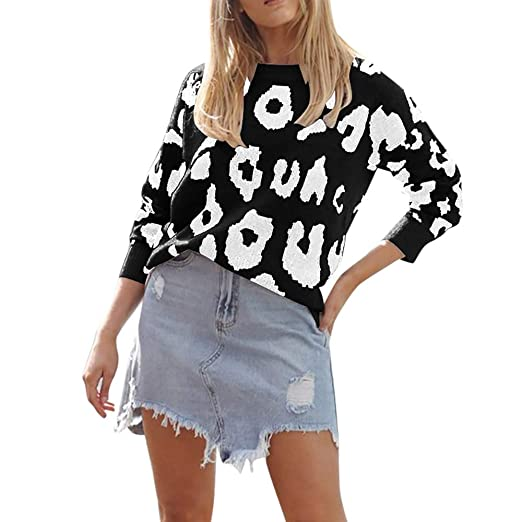 3eb82a86d045 HUAMINGZHONGQING Women Knitted Long Sleeve Leopard Print Loose Pullover  Tops Sweater,Women Fashion Clothing New