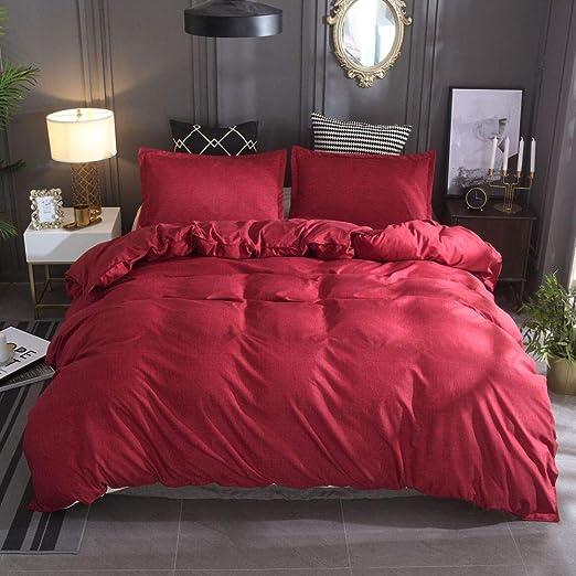 QXbecky Juego de sábanas de algodón y Lino en Color Liso de 3 ...